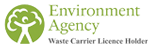 Environment agency waste carrier licence holder logo with text